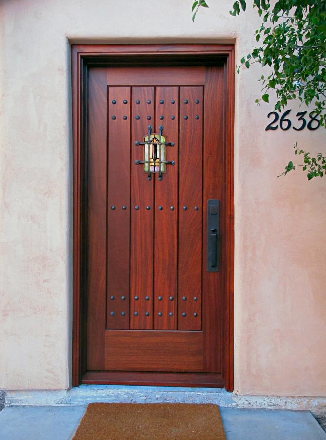 Craftsman style entry door with stained glass