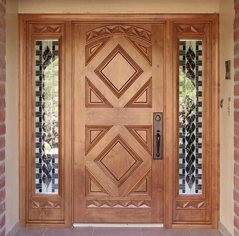 Entry with geometric design wgh woodworking for Single main door designs for home