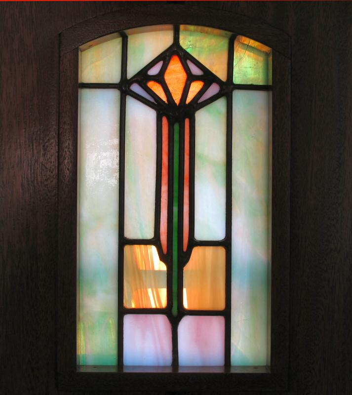 Arts And Crafts Mahogany Door With Stained Glass Wgh