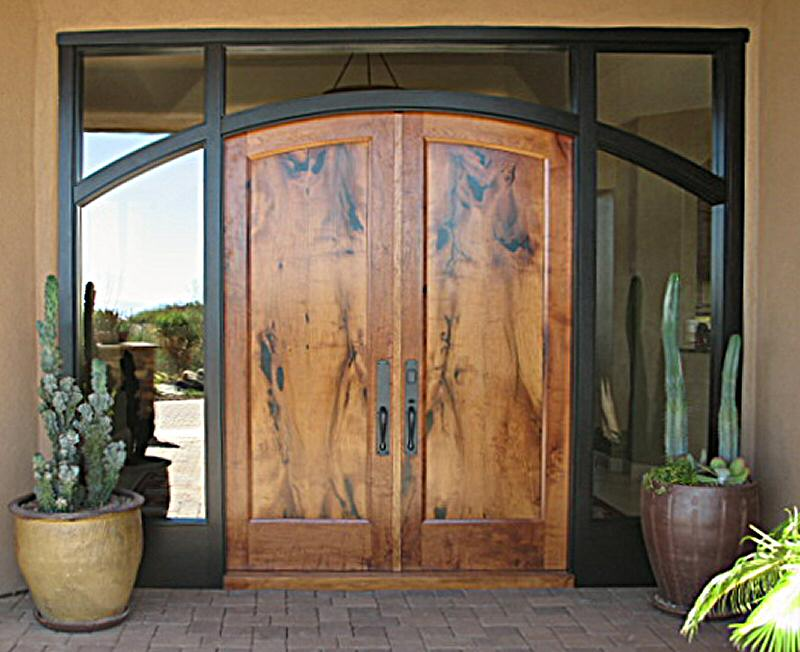 Arched Mesquite Entry Doors In Ebonized Mahogany Jamb