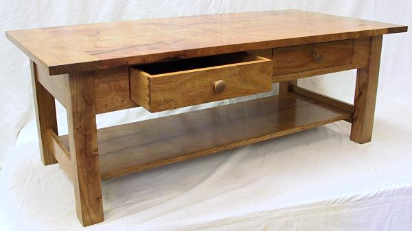 Mesquite Coffee Table With Open Drawer