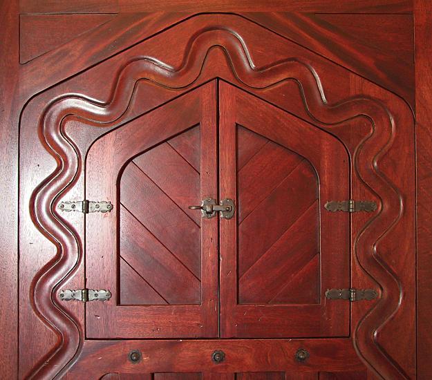 Closeup of Moorish door and wrought iron hardware & Moorish Style Entry Door - WGH Woodworking