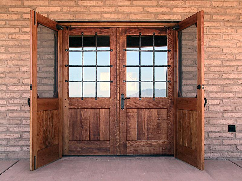 Rustic entry gates with rosettes & Rustic Doors with Security Grills - WGH Woodworking